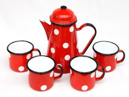 5 tlg. Set Kaffeekanne + 4 Tassen 578TB+501/8 Rot mit weißen Punkten emailliert Teekanne Emaille