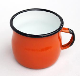 Emaille Tasse 501w/7 Orange Becher emailliert 7 cm Kaffeebecher Kaffeetasse Teetasse - Vorschau 2