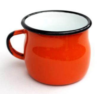 Emaille Tasse 501w/7 Orange Becher emailliert 7 cm Kaffeebecher Kaffeetasse Teetasse - Vorschau 3