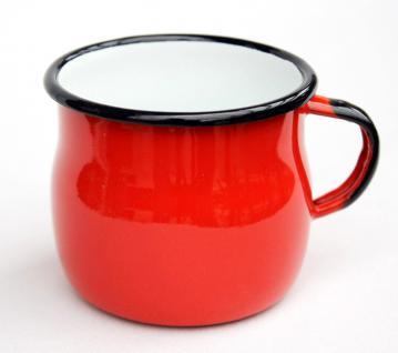 Emaille Tasse 501w/7 Rot Becher emailliert 7 cm Kaffeebecher Kaffeetasse Teetasse