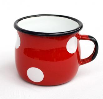 Emaille Tasse 501w/7 Rot mit weißen Punkten Becher emailliert 7 cm Kaffeebecher Kaffeetasse Teetasse