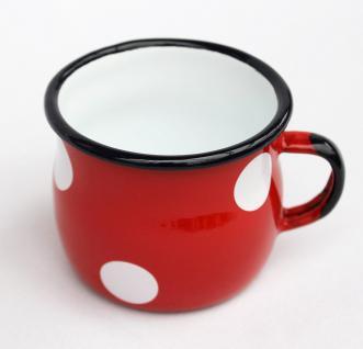 Emaille Tasse 501w/7 Rot mit weißen Punkten Becher emailliert 7 cm Kaffeebecher Kaffeetasse Teetasse - Vorschau 2