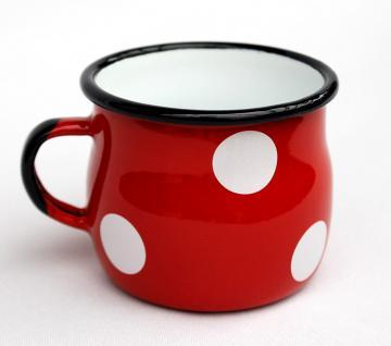 Emaille Tasse 501w/7 Rot mit weißen Punkten Becher emailliert 7 cm Kaffeebecher Kaffeetasse Teetasse - Vorschau 3