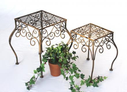 Blumenhocker 2er Set Blumenständer 140102 Pflanzenständer Hocker Beistelltisch - Vorschau 1