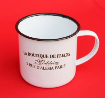 Emaille Tasse 51222 Paris 350 ml Becher Email Kaffeebecher Kaffeetasse Teetasse - Vorschau 2
