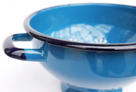 Abtropfschale Sieb 553C - Blau emailliert 22cm Emaille Abtropfsieb Küchensieb Email - Vorschau 4