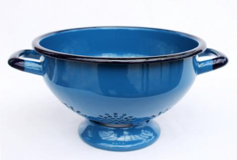 Abtropfschale Sieb 553C - Blau emailliert 22cm Emaille Abtropfsieb Küchensieb Email - Vorschau 5
