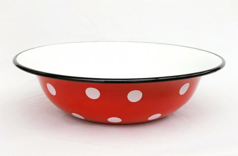 Schüssel 601/32 Rot mit weißen Punkten emailliert 32cm Teller Salatschüssel Emaille Waschschüssel Email