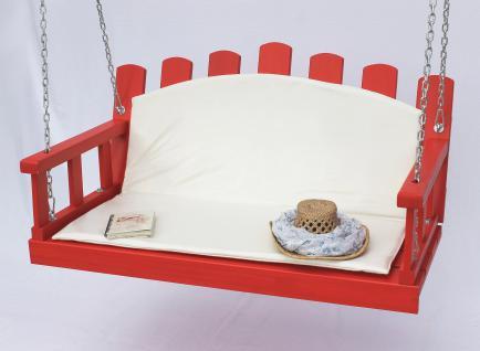 Hängebank Rot Schaukel mit Ketten und Auflage Gartenschaukel Hollywoodschaukel Hängesessel - Vorschau 2