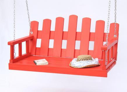 Hängebank Rot Schaukel mit Ketten und Auflage Gartenschaukel Hollywoodschaukel Hängesessel