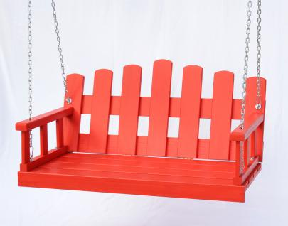 Hängebank Rot Schaukel mit Ketten und Auflage Gartenschaukel Hollywoodschaukel Hängesessel - Vorschau 4