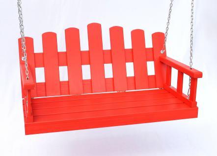 Hängebank Rot Schaukel mit Ketten und Auflage Gartenschaukel Hollywoodschaukel Hängesessel - Vorschau 5