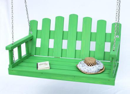 Hängebank Grün Schaukel mit Ketten und Auflage Gartenschaukel Hollywoodschaukel Hängesessel