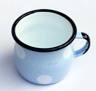 Emaille Tasse 501w/7 Hellblau mit weißen Punkten Becher emailliert 7 cm Kaffeebecher Kaffeetasse - Vorschau 4