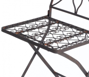 Gartenstuhl Metall Tecla 17921 Metallstuhl Stuhl Garten Vintage Eisen Nostalgie Eisenstuhl Braun Antik - Vorschau 3
