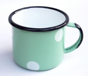 Emaille Tasse 501/8 Hellgrün mit weißen Punkten Becher emailliert 8 cm Kaffeebecher Kaffeetasse - Vorschau 3