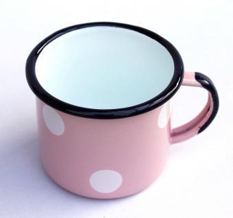 Emaille Tasse 501/8 Rosa mit weißen Punkten Becher emailliert 8 cm Kaffeebecher Kaffeetasse Teetasse - Vorschau 4