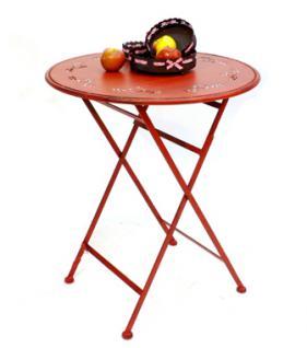 """Tisch """" Passion"""" D-65cm aus Metall 3607 Rot Gartentisch Bistrotisch Klapptisch"""