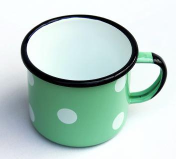 Emaille Tasse 501/10 Hellgrün mit weißen Punkten Becher emailliert 10 cm Kaffeebecher Kaffeetasse - Vorschau 4