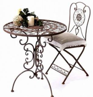 Sitzgruppe Tecla Tisch mit 2 Stühle 1792-21 Kolonialstil Schmiedeeisen Gartengarnitur