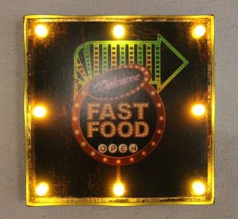Leuchtschild 237681 FAST FOOD Wandschild LED Schild aus Metall 40 cm Display - Vorschau 2