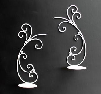 Wandleuchter 2er Set Kerzenhalter 92114 aus Metall 33 cm Weiß Wandkerzenhalter Kerzenleuchter - Vorschau 5