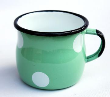 Emaille Tasse 501w/7 Hellgrün mit weißen Punkten Becher emailliert 7 cm Kaffeebecher Kaffeetasse