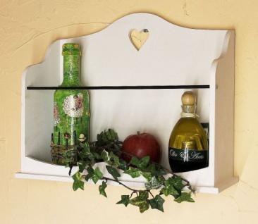 Wandregal mit Herz 12027 Regal 42cm Vintage Shabby Landhaus Weiß Loft