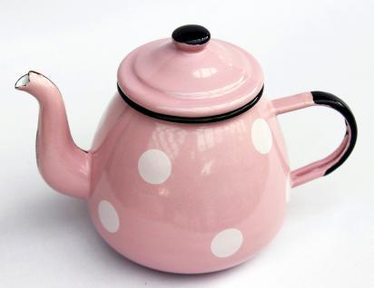 Teekanne 582AB Rosa mit weißen Punkten emailliert 14cm Wasserkanne Kanne Kaffeekanne Emaille - Vorschau 2