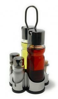 Menage Essig und Öl Spender Glas Salz Pfeffer Zahnstocher Set Edelstahl 250 Silber Glas Ölspender
