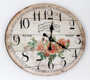 Wanduhr Rose Loft 84631 Quarzuhr Ellipse B-49cm Uhr Designuhr Vintage Shabby - Vorschau 2
