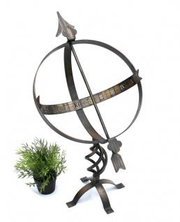 Sonnenuhr Uhr aus Metall Schmiedeeisen Wetterfest 72cm Bronzefarbe