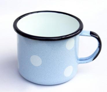 Emaille Tasse 501/10 Hellblau mit weißen Punkten Becher emailliert 10 cm Kaffeebecher Kaffeetasse - Vorschau 3