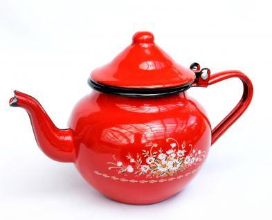 Teekanne BsB 83/07 Rot emailliert Wasserkanne Kanne Kaffeekanne Emaille Nostalgie - Vorschau 3