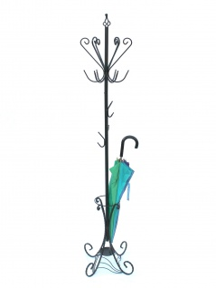 DanDiBo Kleiderständer Schwarz Metall 210 cm Art.156 Garderobe Garderobenständer Antik Schirmständer Eisen Kleiderständer