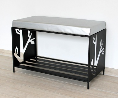 DanDiBo Schuhregal mit Sitzfläche Metall Schwarz 70 cm 10-1505 Schuhregal Schuhschrank Schuhbank Sitzbank