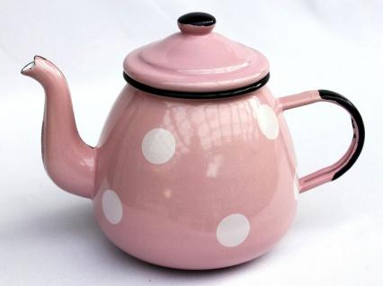 Teekanne 582AB Rosa mit weißen Punkten emailliert 14cm Wasserkanne Kanne Kaffeekanne Emaille