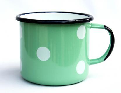 Emaille Tasse 501/10 Hellgrün mit weißen Punkten Becher emailliert 10 cm Kaffeebecher Kaffeetasse - Vorschau 2