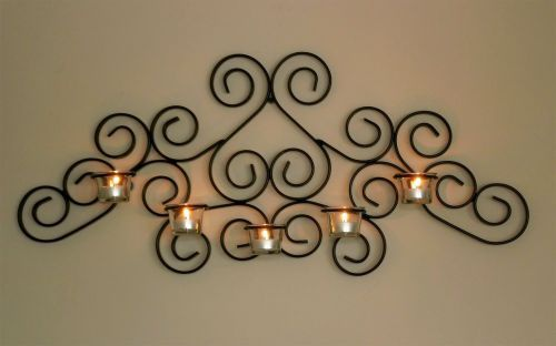 DanDiBo Wandteelichthalter Metall Schwarz Palace Wandkerzenhalter 63 cm Teelichthalter Kerzenhalter