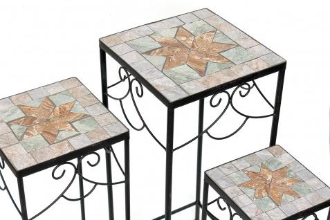 Blumenhocker Mosaik Eckig 3er Set 53, 60 , 67 cm Blumenständer 17831 Beistelltisch Pflanzenständer Mosaiktisch - Vorschau 3