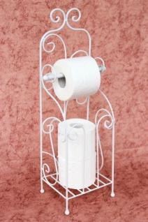 Toilettenpapierhalter Antik Weiß Metall HX13608 WC Rollenhalter Freistehend Vintage WC Papierhalter Shabby Chic - Vorschau 2