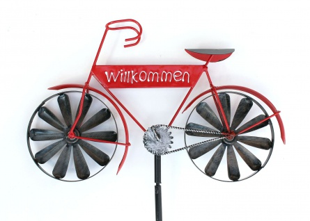 Gartenstecker Metall Fahrrad Willkommen Rot MT86 Windspiel Windrad Wetterfest Gartendeko Garten Gartenstab Bodenstecker