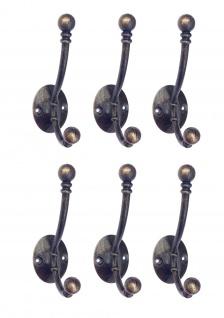 DanDiBo 6x Wandhaken Kleiderhaken 10 cm aus Metall Messing Haken Garderobenhaken