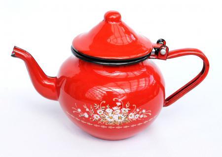 Teekanne BsB 83/07 Rot emailliert Wasserkanne Kanne Kaffeekanne Emaille Nostalgie - Vorschau 4