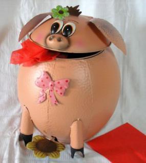 Abfalleimer Schwein Treteimer Mülleimer aus Metall 40cm - Vorschau 3