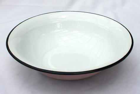 Schüssel 601/32 Rosa mit weißen Punkten emailliert 32cm Teller Salatschüssel Emaille Waschschüssel - Vorschau 3
