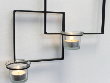 DanDiBo Wandteelichthalter Alegria Metall Wand Schwarz Teelichthalter Kerzenhalter Wandkerzenhalter Wandleuchter - Vorschau 3