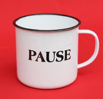 """Emaille Tasse 51220 """" Pause"""" Becher emailliert 10 cm Kaffeebecher Kaffeetasse Teetasse"""