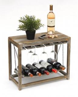 DanDiBo Weinregal Holz Braun mit Ablage 47 cm Flaschenregal mit Glashalter 9202-R Flaschenhalter Weinschrank Regal stehend