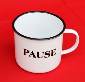 "Emaille Tasse 51220 "" Pause"" Becher emailliert 10 cm Kaffeebecher Kaffeetasse Teetasse - Vorschau 3"